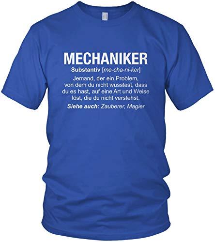 "Mechaniker Wikipedia – Camiseta para hombre con texto ""Job Spruch"" azul XL"