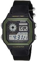 كاسيو ساعة عملية كاجوال للرجال رقمي قماش - AE-1200WHB-1BV