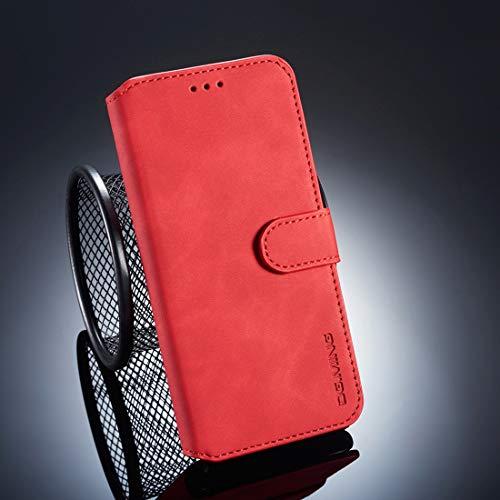 BEIJING ♋ PROTECTIVECOVER + - Estuche con Tapa Horizontal con Lado de Aceite Retro for Huawei P20 Pro, con Soporte y Ranuras Tarjetas y Cartera De Caja de protección de la Moda (Color : Rojo)