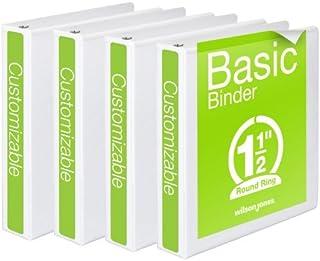 Wilson Jones 1-1/2 Inch 3 Ring Binders, Basic Round Ring View Binders, White, 4 Pack (W70362-34WPP)