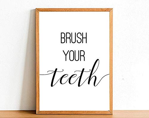 GAVIMAX Brush Your Teeth - Bathroom Poster Print - Satin Paper - Toilet Wall Art - A4 A3 A2 - Home Wall Decor Posters | Poster No Frame Board for Office Decor, Best Gift for Family and Your Frie