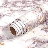 Livelynine Pellicola autoadesiva in marmo per mobili, per tavolo dei bambini, tavolo da cucina, scrivania, piano di lavoro, cucina, davanzale, pellicola decorativa in marmo, 40 cm x 2 m