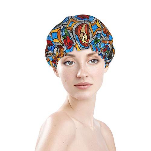 Gorro de ducha de cristal de cuento de hadas de belleza y bestia, doble capa, impermeable, elástico, reutilizable, suave forro de PEVA para las mujeres