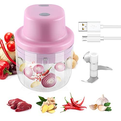 PREUP Picadora de Alimentos Eléctrica, 300ML Picador de Ajo Procesador de Alimentos con 3 Cuchillas Afiladas, Mini Triturador de Alimentos Manual de Verturas para Cocina, Alimentos para Bebés