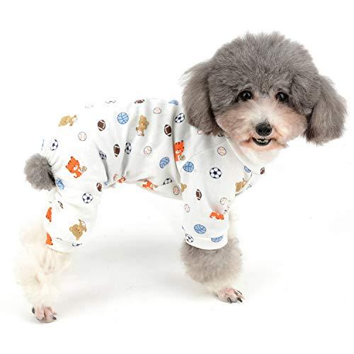 Zunea Jumpsuit für kleine Hunde, Schlafanzug, Overalls aus weicher Baumwolle, Schlafkleidung, niedlicher Bär, Fußball, bedruckt, vier Beine, für Haustiere, Katzen, Welpen, XXL