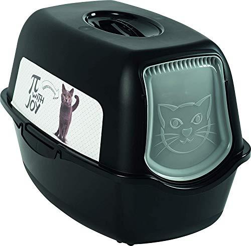 Rotho Bailey - Lettiera per gatti con coperchio, Plastica (PP) senza BPA., Nero , (56,0 x 40,0 x 39,0 cm)