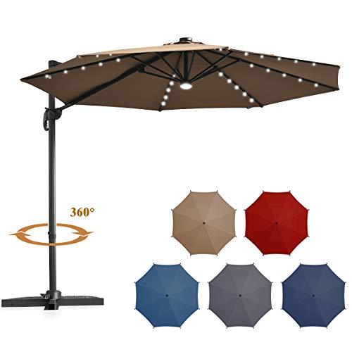 Tangkula 10 ft Solar LED Patio Cantilever Offset Umbrella with 360 Degree Rotation, Outdoor Market Umbrella with Cross Base and Cover, Outdoor Umbrella with Center Light (Tan)