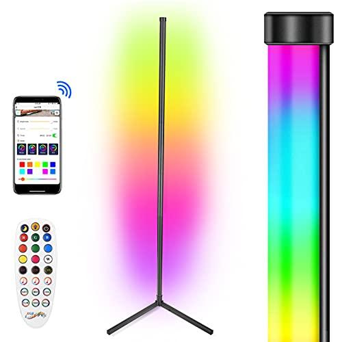 Crtkoiwa Modern LED hörn golvlampa dimbar hörn golvlampa mobiltelefon styrbar stående lampa dimning stående lampa olika färger och hastighet för att möta för vardagsrum, sovrum, spelrum
