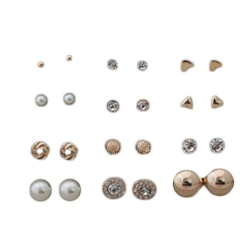 daoreir–Set di 24Orecchini modalità semplice motif-zircon-bijoux-triangle-en forma di C & # x153; ur-la balle-plaqué Argento Regalo Ideale per Donna, Lega, oro