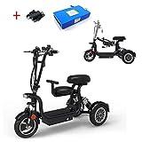 AA100 Scooter eléctrico 3 Ruedas, Silla de Ruedas eléctrica Plegable, convenientes biplaza con discapacidad Damas Adultas Exterior Scooter de 45 kilometros de Ocio 48V13A de Litio de la batería Negro