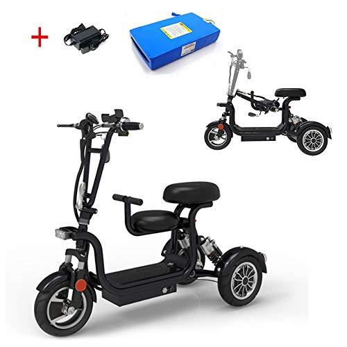 AA100 Elektro 3-Rad-Roller, Faltbare Elektro-Rollstuhl, Bequeme Zweisitzer für behinderte Erwachsene Damen Outdoor-Freizeit-Roller 48V13A Lithium-Batterie 45km schwarz