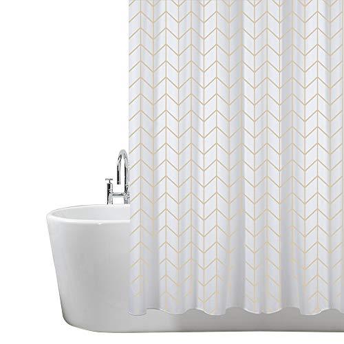 ANSIO Cortinas de Ducha, para baño, bañera, Impermeable, Resistente al Moho, Anti Moho y Impermeables 180 x 180 cm (71 x 71 Pulgada) | 100% Polyester - diseño de Espiga