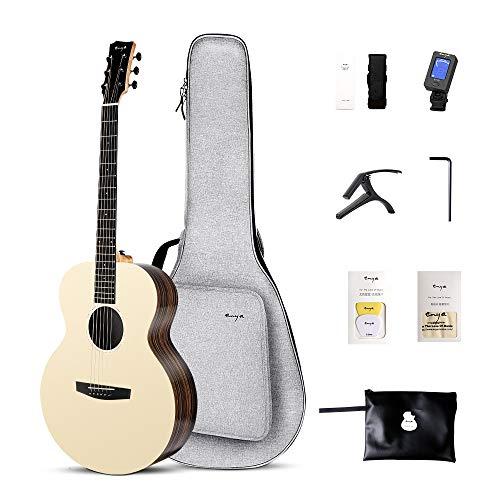 Enya Natural Acoustic Guitar 36 Inch 3A Solid Spruce Top Elixir Strings Installed Fine Design HPL Travel Guitar EM-X2 with Free Guitar bag,Capo,Tuner, Strap Etc.