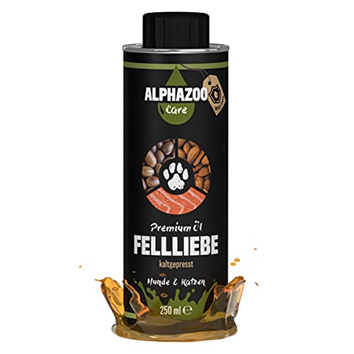 alphazoo Fellliebe - Olio per mangimi per cani e gatti, olio di barf per una pelle sana, miscela di olio naturale pressato a freddo, olio di salmone, olio di mandorle, olio di argan per cani (250 ml)