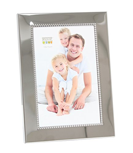Deknudt Frames S67AF1-15.0X20.0 - Cornice portafoto, con perline, 25,2 x 19,7 x 2 cm, colore argento lucido, legno