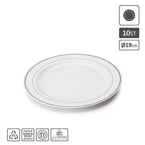Silverkitchen 20x Vorspeisen- und Kuchenteller weiß Ø 19 cm | stabile Plastikteller mit Goldrand Alt. zu Einweg | Robustes Plastikgeschirr hochwertige Qualität | edle Partyteller wiederverwendbar