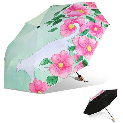 DJMJHG Paraguas Plegable de Revestimiento Negro de Moda, Paraguas Manual de protección UV, Paraguas Soleado de Lluvia de 8 Costillas