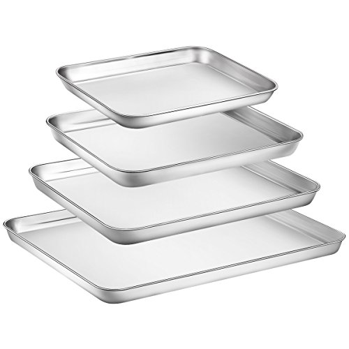 Zacfton Baking Sheet Set of 4, Stainless Steel Baking Pan Tray Cookie Sheet, Non Toxic & Healthy, Rust Free & Easy Clean & Dishwasher Safe