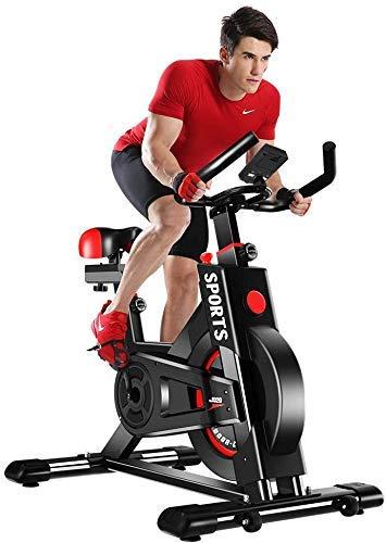 Dripex Exercise Bike (2021 Upgraded Version), Studio Quality, LCD Displays, Heart Rate Monitor, Large Bidirectional Flywheel, Stationary, Belt Drive, Resistance Adjustment (Black)