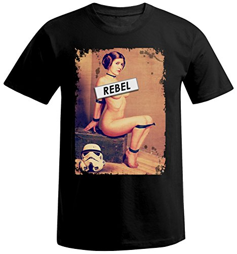 adrotes Herren T-Shirt Rebel Leia ADSW10008 (L, Black)