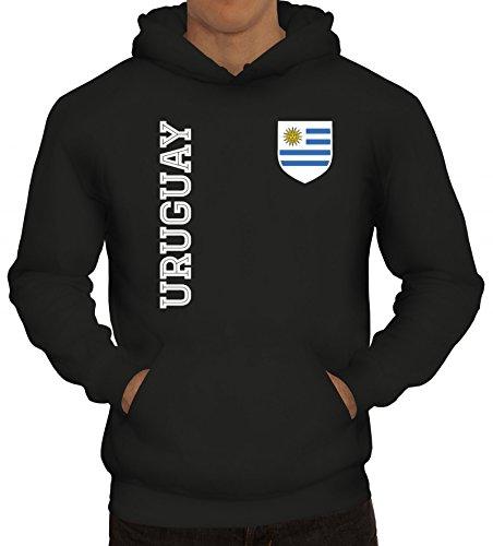 Wappen Fußball WM Fanshirt Gruppen Herren Hoodie Männer Kapuzenpullover Fan Trikot Uruguay, Größe: XL,Schwarz
