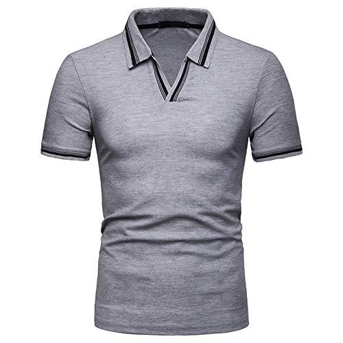 Mr.BaoLong&Miss.GO Nouveau Polo pour Hommes De La Mode D'été T-Shirt à Col en V pour Hommes en Vrac Taille Européenne Polo à Manches Courtes