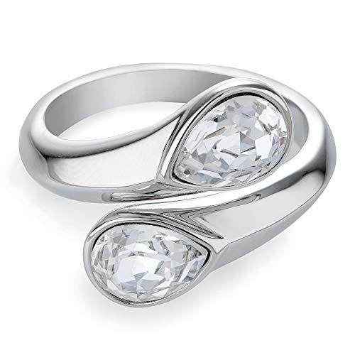 Buckley London Damen Ring Messing rhodiniert Kristall weiß 430070121