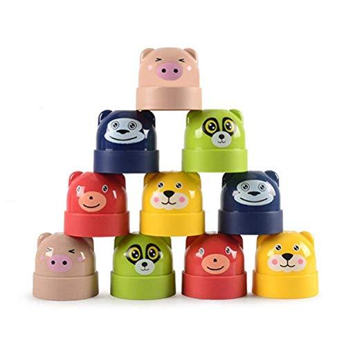 Desire Sky 1 juego de vasos apilables, vasos plegables con animales, vasos apilables, juguetes educativos para bebés, juguetes educativos para niños y niños
