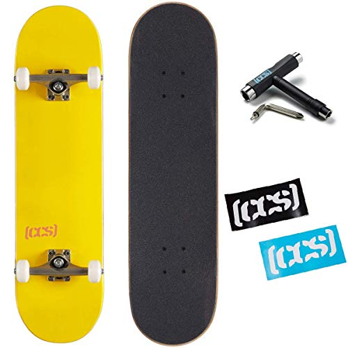 in budget affordable Skateboard kit with CCS logo and natural wood – fully assembled (yellow, 7.75)