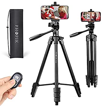"""PHOPIK Lightweight Phone Tripod 55-Inch Video Tripod with 360 Panorama and 1/4"""" Mounting Screw for Mirrorless/Gopro/DSLR Camera Phone Holder for Smartphone Max Load 6.6 Lbs Carry Bag Inclued."""