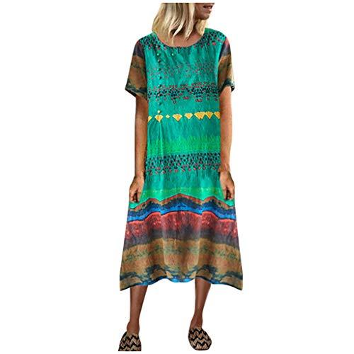 XOXSION Vestido de playa bohemio con estampado vintage, largo hasta la rodilla, manga corta, cuello redondo, vestido casual de moda