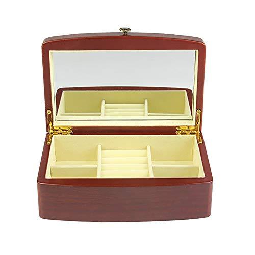zjyfyfyf Caja de joyería Caja de joyería de Madera Mirror Incorporado Caja de joyería para Anillos, Pendientes, Collares, Pulsera, Relojes, Caja de Regalos