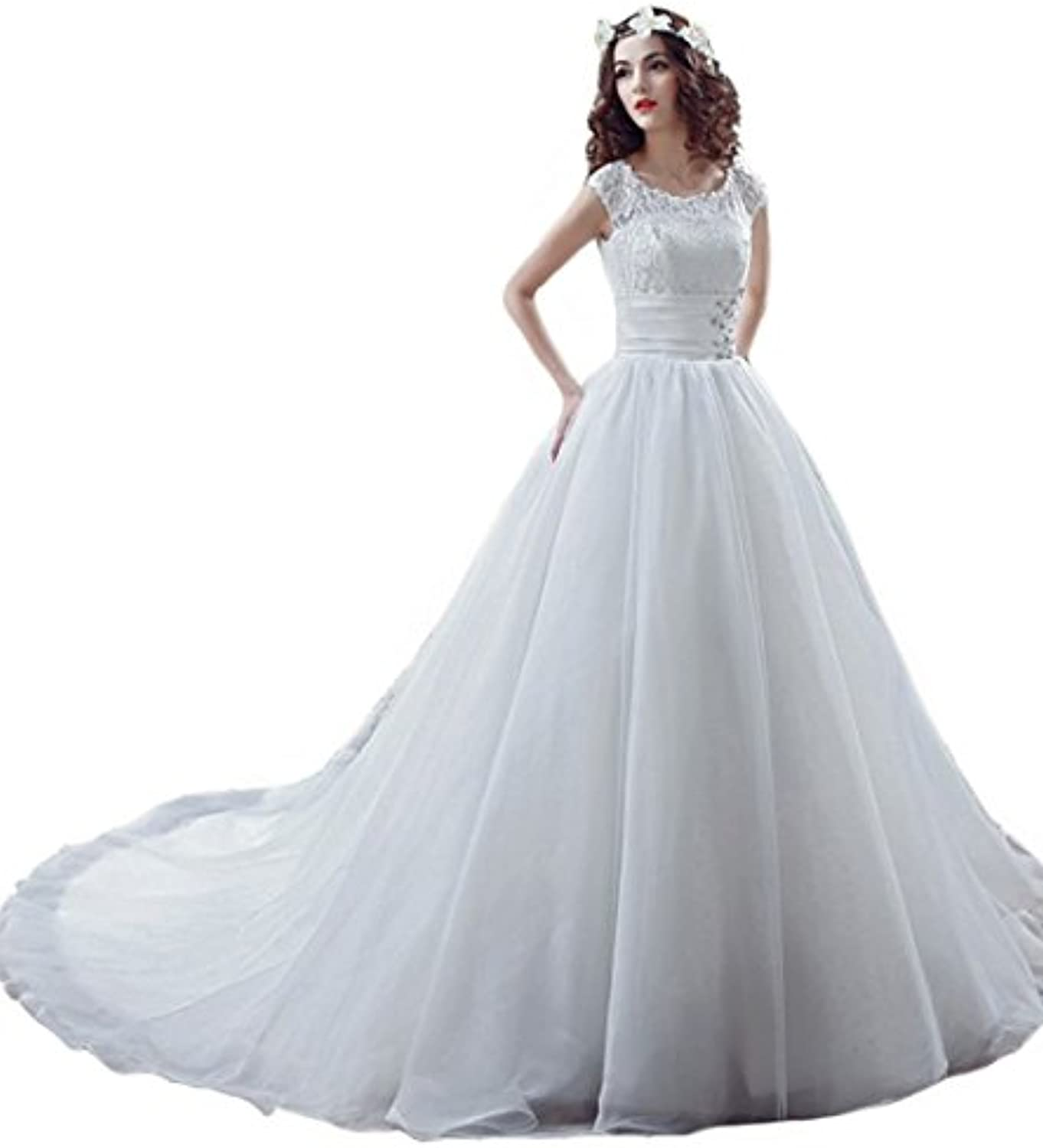 Beilite Women's Scoop Beaded Lace Wedding Dresses with Long Train