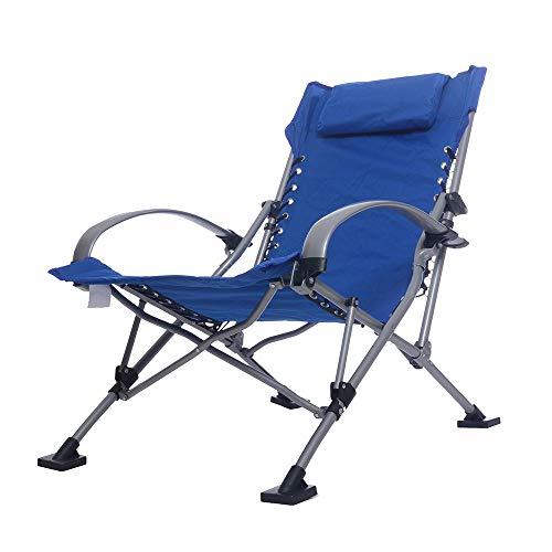 WPCBAA Chaise de Loisirs en Aluminium Chaise de Loisirs en Plein air Siesta Chaise Portable Pliant inclinable Bureau inclinable (Couleur : Bleu)