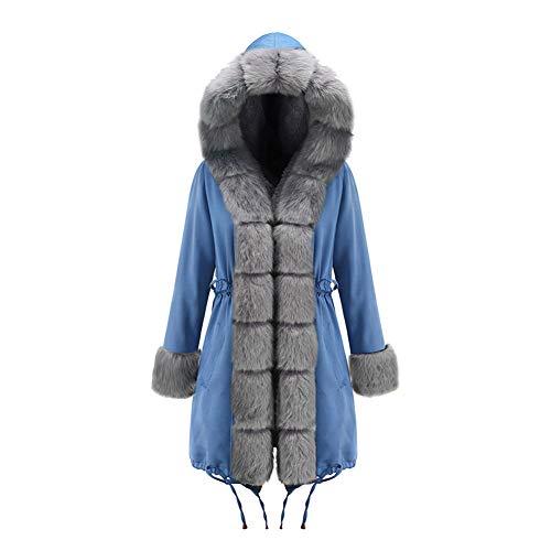 BIXUYAO Womens winterjas met capuchon/imitatiebont gevoerd halflang jack winter warm casual outdoor jas