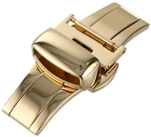 Hadley-Roma 16mm IP Yellow Gold-Plated Push Button Deployant Clasp