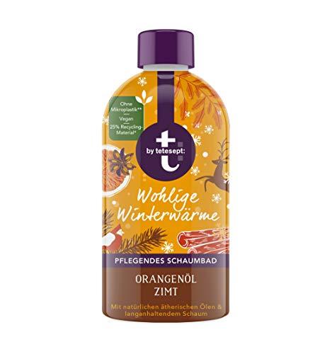 t: by tetesept Schaumbad Wohlige Winterwärme - Badezusatz mit dem winterlichen Duft von Orangenöl und Zimt - Sanfte Pflege, mit natürlichen Aroma-Ölen und langanhaltendem Schaum - 1 x 420 ml