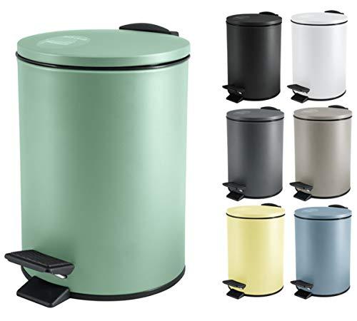 Spirella Kosmetikeimer 3 Liter Edelstahl mit Absenkautomatik und Inneneimer Adelar Badezimmer Mülleimer Softclose Abfalleimer grün