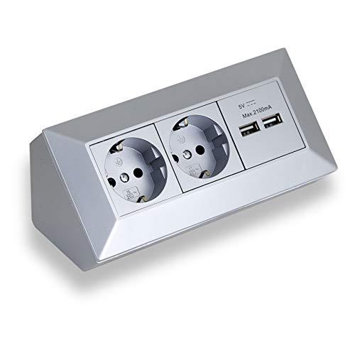 Eck-Steckdose Aufbaumontage 2x Schuko, 2x USB für Küche, Büro, Werkstatt. Steckdosenleiste ideal für Küchen-Arbeitsplatte, Aufbausteckdose oder Unterbausteckdose (2 Schuko, 2 USB grau)