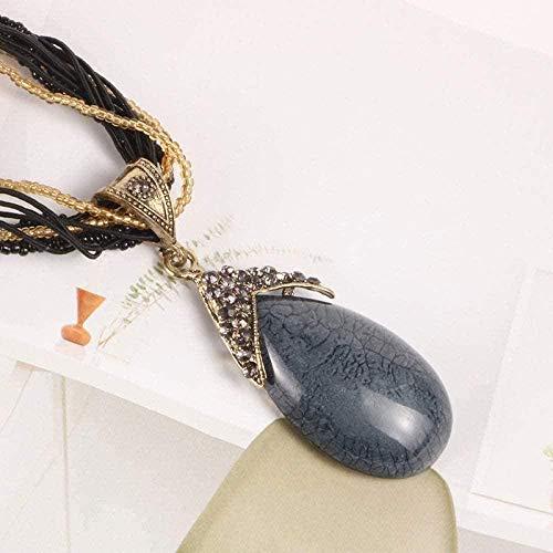 Liuqingzhou Co.,ltd Collares Pendientes de Piedra para Mujer Collares Pendientes de Cuarzo Negro con lágrima de Piedra Natural Vintage Boho con Adornos de Cadenas de Color Negro