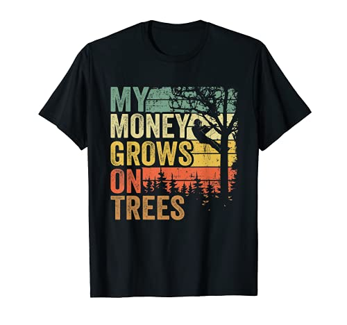 Arborist Mens Tree Climber Vintage My Money Grows On Trees T-Shirt