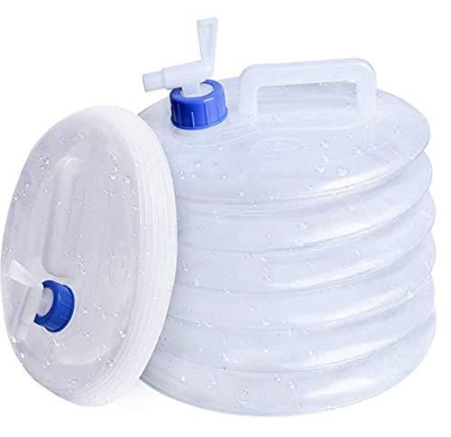 QSXX Contenedor Plegable Agua Portador de Agua Plegable portátil Acampar con Grifo No tóxico PE Almacenamiento en Cubo para camping escalada supervivencia de emergencia(2x15L)