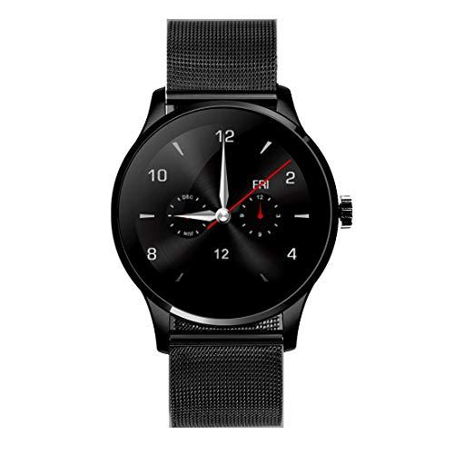 Outdoor-Smartwatch K88H 1,22 Zoll 2.5D gebogener Bildschirm Bluetooth 4.0 IP54 Wasserdichtes Metallarmband Intelligentes Armband mit Pulsmesser und BT-Anruf und Schrittzähler und Anruferinnerung sowie
