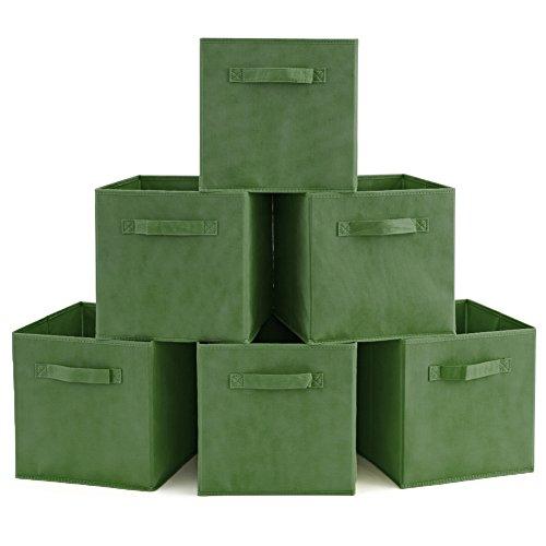 EZOWare 6er-Set Aufbewahrungsbox Faltbare Aufbewahrungskiste Faltbox und Weichem Stoff in Würfelform - Kale Grün