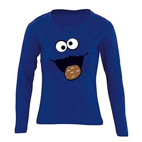 Jimmys Textilfactory Longsleeve Krümelmonster mit Keks Karneval Kostüm Sesamstraße Damen XS - 2XL Gruppen-Kostüm Rosenmontag Party Feier, Größe:L, Farbe:Royalblau