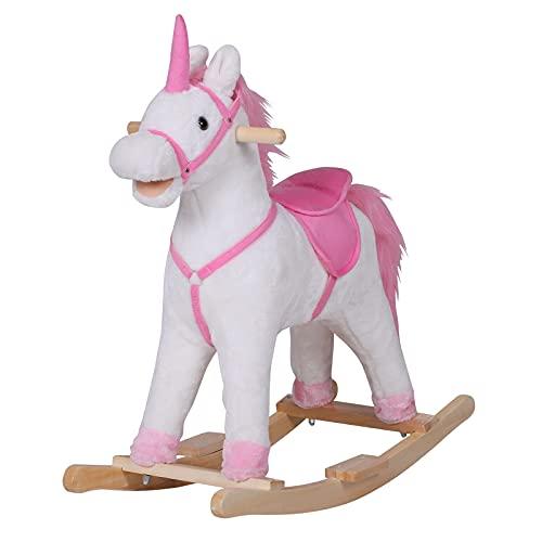 homcom Cavallo a Dondolo in Legno Unicorno Giocattolo Cavalcabile Bambini Peluche 78 × 28 × 68cm Rosa