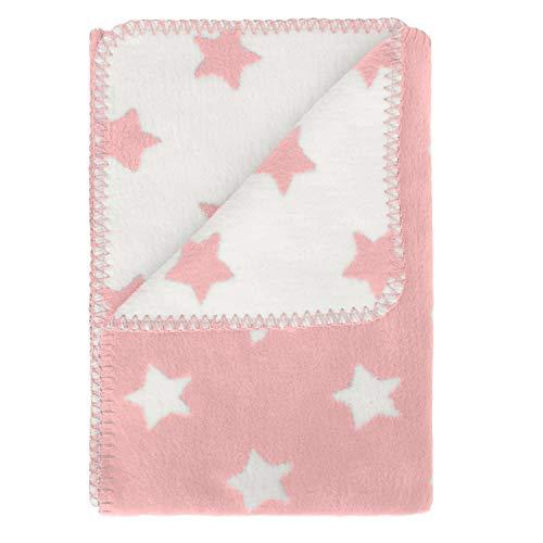 kids&me Babydecke aus kuscheliger Bio-Baumwolle - die perfekte Decke für Babys und Neugeborene - ÖKO-TEX zertifiziert - rosa Schmusedecke für Mädchen Größe: 100 x 70 cm - Kinderwagendecke Krabbeldecke
