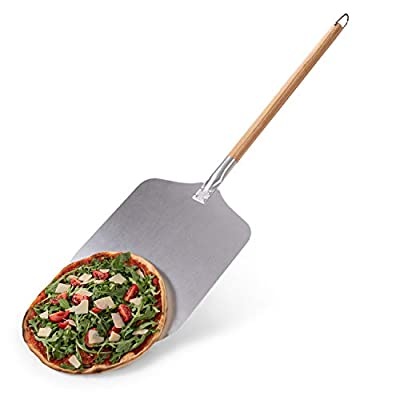 Blumtal Pizza Peel - Long Wooden Handle with Aluminium Peel, Shovel 12inch x 12inch, 33.5inch Long Pizza Paddle from Everbrent
