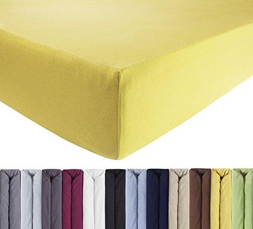 ENTSPANNO Jersey Spannbettlaken für Wasser- und Boxspringbett in Sonnengelb aus gekämmter Baumwolle. Spannbetttuch mit Einlaufschutz, 180 x 200 | 200 x 200 | 200 x 220 cm, bis 40 cm hoher Steg