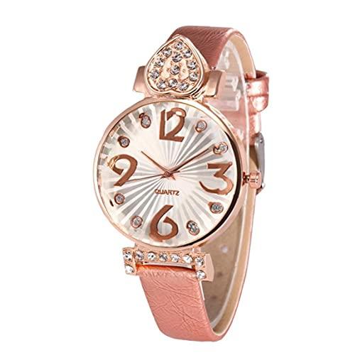 Liadance Mujeres NÚMEROS Grandes Reloj Reloj DE Rhinestone del CUTIMO DE Cuarto ANALÓGICO con LA BRAZA DE CUERCO Causal Wristwatch BATERÍA INTERPRADA (Rosa)
